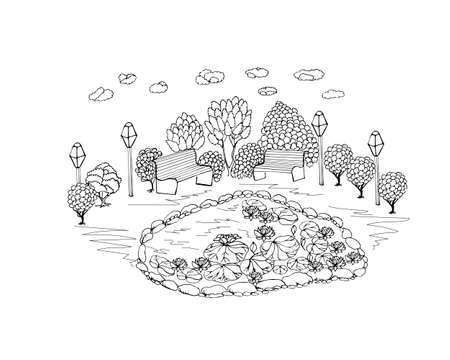Anti-stress coloring black and white vector drawing, drawn by hand. Illustration of a park, for drawing flowers, trees, lakes, benches, lanterns, and clouds. Suitable for posters, postcards, stickers Ilustração