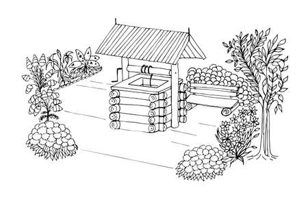 Anti-stress coloring black and white vector drawing, drawn by hand. Illustration of a water well, for drawing flowers, trees, benches, plants. Suitable for posters, postcards, stickers and book design. Vector illustration