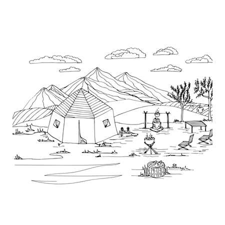 Anti-stress coloring black and white vector drawing drawn by hand. Illustration of a tent, for painting mountains, campfire, barbecue, chaise longue. Suitable for posters, postcards, stickers Vettoriali