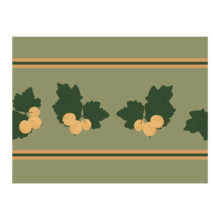 Seamless border with yellow gooseberry berries, green leaves on a gray background. Design for wallpaper, background, fabric, textile, cafe, restaurant, resort, exotic, packaging.. Vector illustration Stock Illustratie