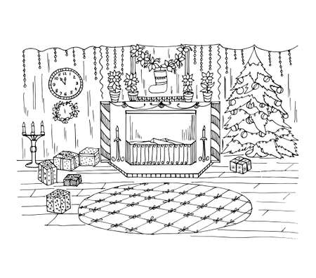 Coloring book with Christmas decorations in a room with a fireplace, a Christmas tree with toys, clocks,gifts, candlesticks, candles. Vector illustration for Christmas background, greeting card, decor