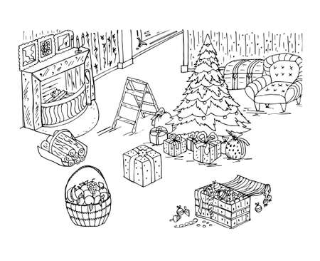 Christmas coloring book with fireplace, toys, Christmas tree, holiday decorations, furniture in the room. Vector illustration for New year background, greeting card, decoration, design, poster, sticke