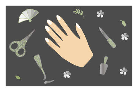 A womans hand with painted nails, manicure tools isolated on a black background. The hand lies on a straight surface. Materials for hand and nail care, beauty salon service.. Vector illustration