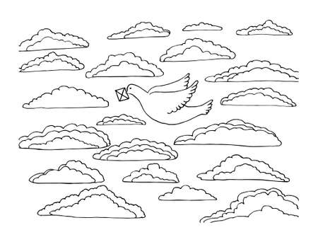 Coloring book with a bird. a white dove flies in the sky with clouds and holds a letter in its beak. isolated closed contour in a vector illustration. 向量圖像