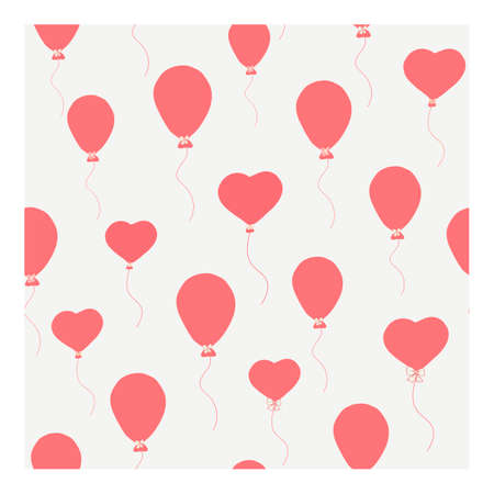 Seamless vector pattern with red heart-shaped balloons. Festive design. Suitable for textile, invitation, decoration, decoration, packaging, for production.