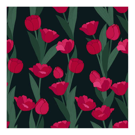 Seamless vector pattern with red flowers and green leaves on a dark background. Tulips. Suitable for textiles, wallpaper fabric production, web, cover background.