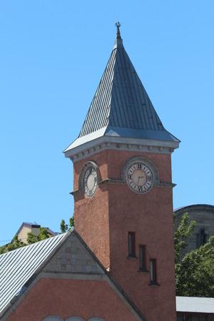 leningradskaya: Clock tower, Viborg town. Leningradskaya Oblast, Russia. Stock Photo