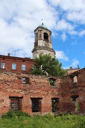 leningradskaya: Clock tower. Vyborg City, Leningradskaya Oblast, Russia.