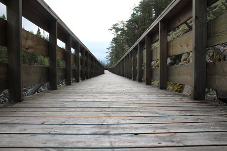 wood deck: Wood deck along the riverbank.