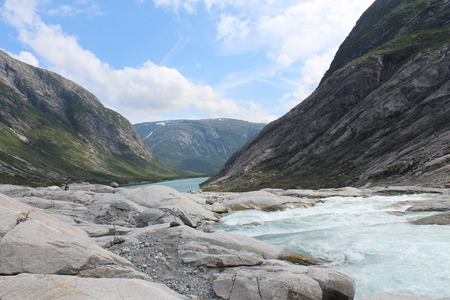 jostedalsbreen: Beautiful landscape of Norway. Mountains and river.