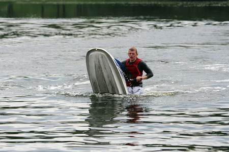 fell: A man fell down from jet ski. Stock Photo