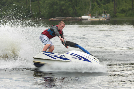 jet ski: Action Photo Man on jet ski.