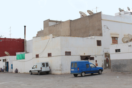 chimney corner: Arabian industrial buildings. Agadir, Morocco.