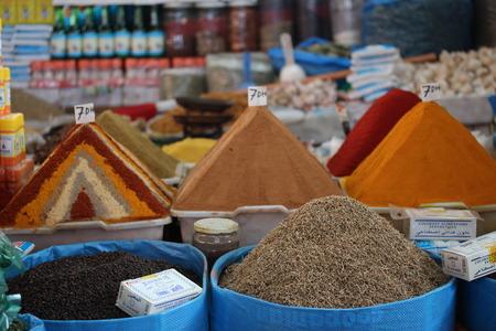 marocco: Spices in the market in the Agadir, Morocco. Stock Photo