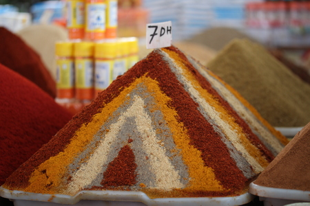 milled: Mix of milled spices in the market in the Agadir, Morocco.