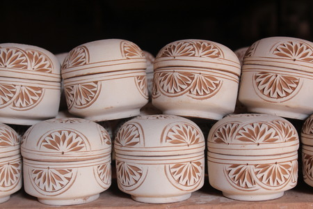 kaolin: Ceramics. Manual production. The result of the finished work. Stock Photo