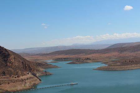powerfull: The famous Moroccan storage pond, near the Agadir. Stock Photo