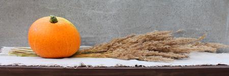 dried flower arrangement: A pumpkin and a bunch of dried grass. Stock Photo