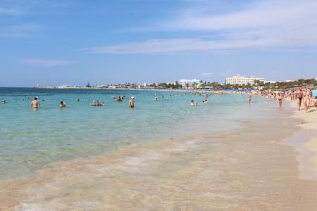 Pantachou Beach in Agia Napa, Cyprus. Banco de Imagens