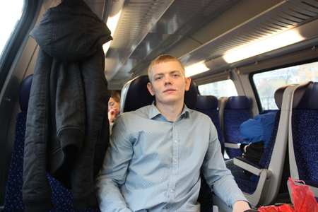 Young man in the train.