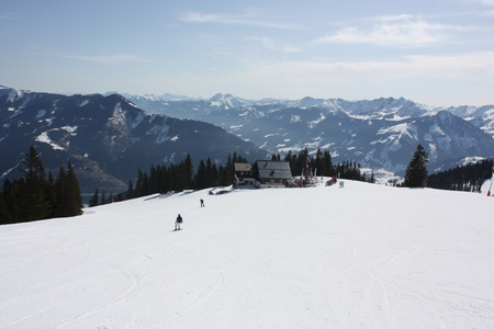 zell am see: Ski trail, Zell am See skiing resort. Stock Photo