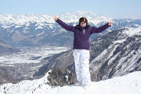 kaprun: Young woman on the Kaprun, skiing resort in Austria. Stock Photo