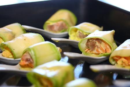 Salmon stuffed zucchini.