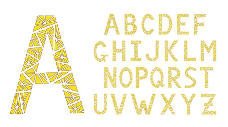 Modern triangles font Yellow color.
