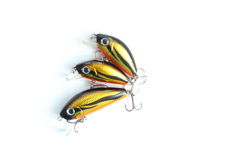 Wobblers. Three lures with hooks. The lures is the same, bur size is different.
