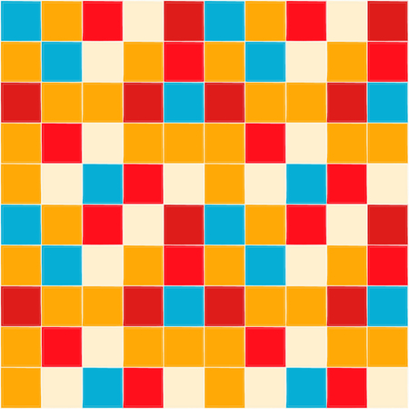 Bright background. Kitchen brick wall. Red, white, orange and blue colors.