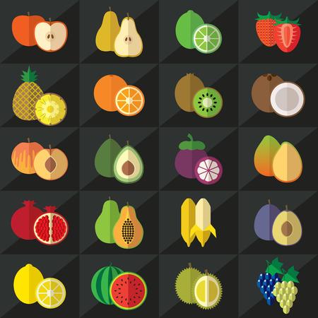 naranja fruta: Conjunto de frutas plana ilustración Vectores