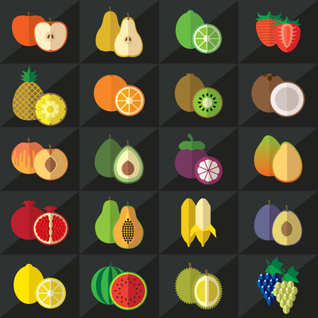 kiwi fruit: Set of fruits flat illustration Illustration