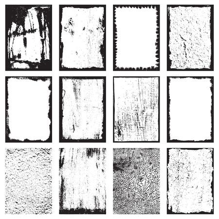 Set of grunge texture cadres milieux