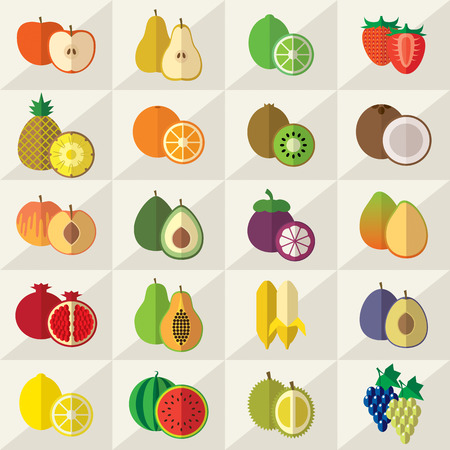 kiwi fruit: Set of fruits flat vector illustration