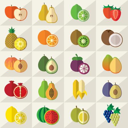 citrus fruit: Set of fruits flat vector illustration
