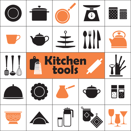 cake stand: Set of kitchen tools instruments silhouette icons illustration