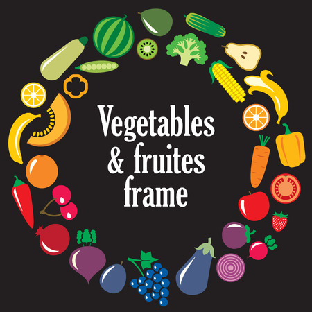 apples and oranges: Set of vegetables and fruits illustration in the round frame