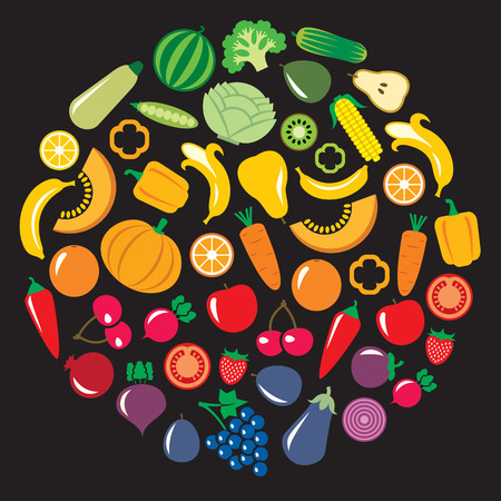 corne: Set of vegetables and fruits illustration in a circular shape