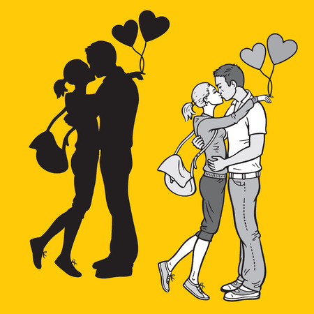 monochromatic: Silhouette and monochromatic illustration of lovers kissing Illustration