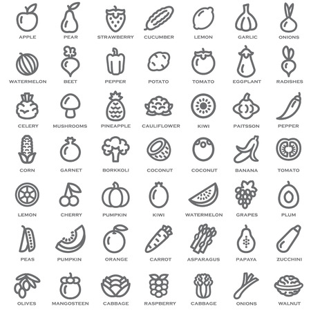 apples and oranges: Set of vegetables and fruits illustration outline Illustration