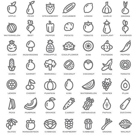 apples and oranges: Set of vegetables and fruits illustration outline Illustration