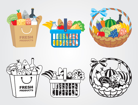 banana bread: Shopping cart filled with food illustration