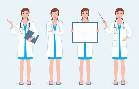 Set of four female doctors character in different poses