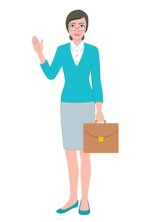 Color illustration of the friendly teacher woman holding a briefcase bag Illustration