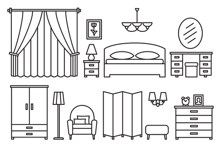 modern furniture: Bedroom modern furniture. Home and hotel comfortable interior in line style Illustration