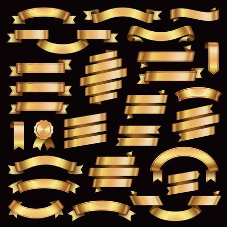 golden ribbon: Golden Ribbon Banners Design Elements Retro Collection