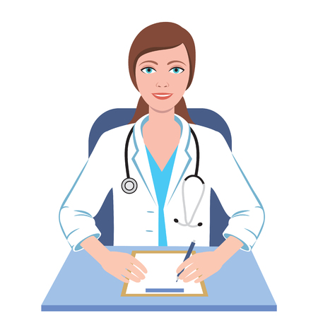 general: Famale general practioner. Illustration of a smiling doctor woman. Illustration