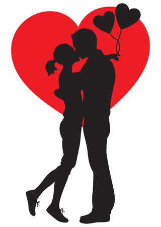 lovers kissing: Silhouette illustration of lovers kissing couple embracting on white background