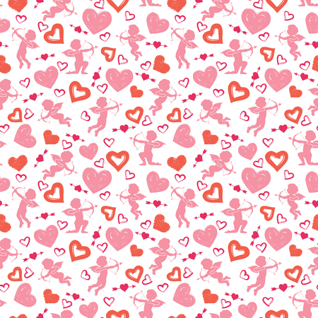 Love theme, cupids, amours, hearts, valentine`s day seamless pattern background illustration