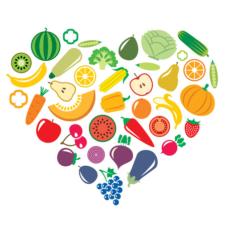 Vegetables and fruits icons in the shape of heart background illustration isolated on white